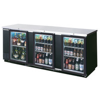 Beverage Air BB94GF-1-B-LED 94 inch Black Food Rated Glass Door Back Bar Cooler with Three Doors - 39.7 Cu. Ft.
