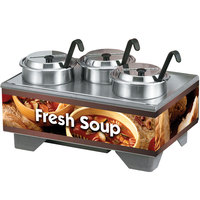 Vollrath 720201003 Full Size Soup Merchandiser Base with 4 Qt. Accessory Pack and Country Kitchen Graphics - 120V, 1000W