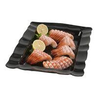 Carlisle 794603 22 1/2 inch x 14 1/2 inch Black Rectangular Medium Scalloped Tray 4 / Case