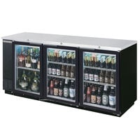 Beverage Air BB78GF-1-B-PT-LED 78 inch Black Food Rated Pass-Through Back Bar Cooler with Six Glass Doors - 33 Cu. Ft.