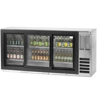 Beverage Air BB78GF-1-S-PT 78 inch Stainless Steel Food Rated Pass-Through Back Bar Cooler with Six Glass Doors - 33 Cu. Ft.