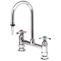 T&S BL-5715-01 Deck Mount Mixing Faucet with 8 inch Adjustable Centers, 13 1/2 inch Rigid Gooseneck, Serrated Tip, and 4 Arm Handle