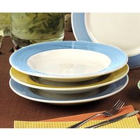 CAC R-125BLU Rainbow Pasta Bowl 30 oz. - Blue - 12/Case