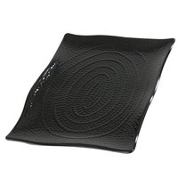 Carlisle 4452003 13 1/2 inch x 9 1/4 inch Rectangular Black Terra Scalloped Textured Platter - 4/Case