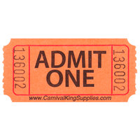 Carnival King Orange 1-Part Admit One Tickets   - 2000/Roll