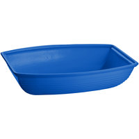Tablecraft CW3190BL 10.5 Qt. Cobalt Blue Cast Aluminum Oblong Salad Bowl