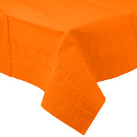 Creative Converting 710237B 54 inch x 108 inch Sunkissed Orange Tissue / Poly Table Cover - 24 / Case