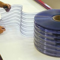 Curtron QSRIP-8X7-10-OSDR 8 inch x 87 inch Ribbed Pre-Cut Replacement Door Strips - 10 Strips / Roll