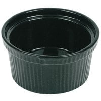 Tablecraft CW1620HGNS 1 Qt. Hunter Green with White Speckle Cast Aluminum Souffle Bowl with Ridges
