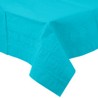 Creative Converting 711039 54 inch x 108 inch Bermuda Blue Tissue / Poly Table Cover - 6 / Case