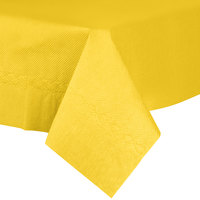 54 inch x 54 inch Yellow Tissue / Poly Table Cover - 50 / Case