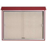 Aarco 40 inch x 52 inch Rosewood Outdoor Plastic Lumber Message Center with Vinyl Tackboard - Sliding Door
