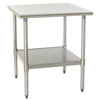 """Eagle Group T3036SEB 30"""" x 36"""" Stainless Steel Deluxe Work Table with Stainless Steel Undershelf"""