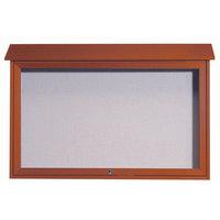 Aarco 30 inch x 45 inch Cedar Outdoor Plastic Lumber Message Center with Vinyl Tackboard - Single Top Hinged Door