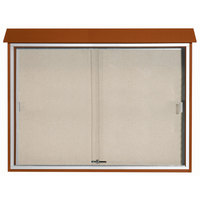 Aarco 40 inch x 52 inch Cedar Outdoor Plastic Lumber Message Center with Vinyl Tackboard - Sliding Door