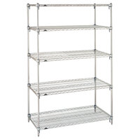 Metro 5A567C Stationary Super Erecta Adjustable 2 Series Chrome Wire Shelving Unit - 24 inch x 60 inch x 74 inch