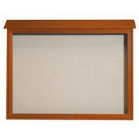 Aarco 40 inch x 52 inch Cedar Outdoor Plastic Lumber Message Center with Vinyl Tackboard - Single Top Hinged Door