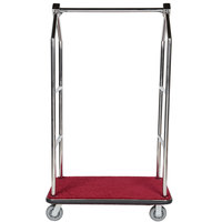 Aarco Stainless Steel Chrome Finish Luggage Cart with Clothing Rail - 42 inch x 24 inch Platform