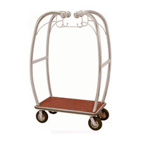 Aarco Stainless Steel Chrome Finish Luggage Cart with Hooks - 47 inch x 25 inch x 73 inch