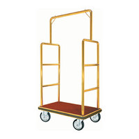Aarco Rectangular Stainless Steel Brass Finish Luggage Cart with Clothing Rail - 42 inch x 24 inch Platform