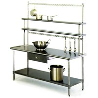 Eagle Group T3060B-FM-PL 30 inch x 60 inch Stainless Steel Work Table with Flex-Master Overshelf Kit and Pot Racks