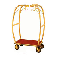 Aarco Stainless Steel Brass Finish Luggage Cart with Hooks - 47 inch x 25 inch x 73 inch