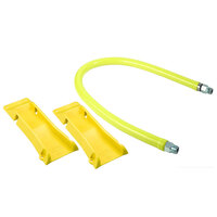 T&S HG-4D-48-PS 48 inch Safe-T-Link Coated Gas Connector Hose with 3/4 inch NPT Male Ends, Quick Disconnect, 90 Degree Elbow, Street Elbow, and POSI-SET Wheel Placement System