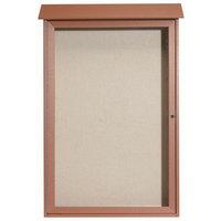 Aarco 48 inch x 32 inch Cedar Outdoor Plastic Lumber Message Center with Vinyl Tackboard - Single Hinged Door