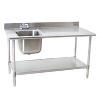 Eagle Group T3048SEB-BS-E23 30 inch x 48 inch Stainless Steel Deluxe Work Table with Sink