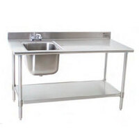 Eagle Group T3072SEB-BS-E23 30 inch x 72 inch Stainless Steel Deluxe Work Table with Sink