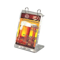 Menu Solutions MT2R-TOPB Aluminum Menu Tent with Top Rings - Brushed Finish - 6 inch x 7 3/4 inch