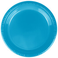 Creative Converting 28313121 9 inch Turquoise Plastic Dinner Plate - 240 / Case