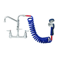 T&S PG-8WSAV-10 Wall Mount Pet Grooming Faucet with 8 inch Centers, 10 inch Add On Nozzle, Aluminum Spray Valve, 9' Coiled Hose, and Vacuum Breaker