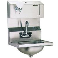 Eagle Group HSA-10-FDP-MG MicroGard Hand Sink with Gooseneck Faucet, Towel Dispenser, Soap Dispenser, and Basket Drain