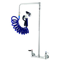 T&S PG-8WOAN Wall Mount Pet Grooming Faucet with 8 inch Centers, Aluminum Spray Valve, 9' Coiled Hose, 6 inch Wall Bracket, and Overhead Swing Assembly