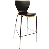 BFM Seating JA602BS-BL Leo Chrome Bar Height Chair with Black Laminate Seat and Back
