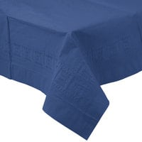 Creative Converting 710242B 54 inch x 108 inch Navy Blue Tissue / Poly Table Cover - 24 / Case