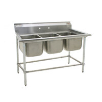 Eagle Group 314-16-3 Three Compartment Stainless Steel Commercial Sink without Drainboards - 58 3/4 inch