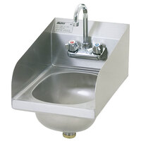 Eagle Group HSAN-10-F-LRS 18 inch x 12 inch Hand Sink with Gooseneck Faucet, Side Splashes, and Basket Drain