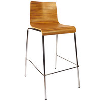BFM Seating JA600BS-ZB Abby Zebrano Laminate Barstool with Chrome Frame