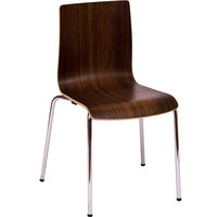 BFM Seating JA601CH-WL Rita Stackable Walnut Laminate Side Chair