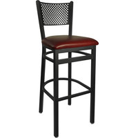BFM Seating 2161BBUV-SB Polk Sand Black Steel Bar Height Chair with 2 inch Burgundy Vinyl Seat