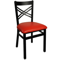 BFM Seating 2130CRDV-SB Akrin Metal Chair with 2 inch Red Vinyl Seat