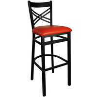 BFM Seating 2130BRDV-SB Akrin Metal Barstool with 2 inch Red Vinyl Seat