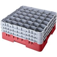 Cambro 36S738416 Cranberry Camrack 36 Compartment 7 3/4 inch Glass Rack