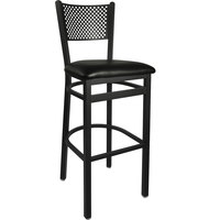 BFM Seating 2161BBLV-SB Polk Sand Black Steel Bar Height Chair with 2 inch Black Vinyl Seat