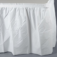 Creative Converting 010047C 14' x 29 inch White Plastic Table Skirt