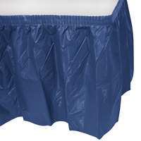 Creative Converting 10036 14' x 29 inch Navy Plastic Table Skirt