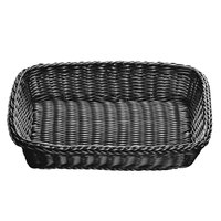 Tablecraft M2489 Black Rectangular Rattan Basket 16 1/4 inch x 11 1/4 inch x 3 1/2 inch
