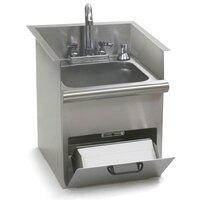 Eagle Group HWB-E Drop In Hand Wash Sink with Encore Gooseneck Faucet, Built In Towel Dispenser, Soap Dispenser, and Basket Drain